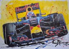Online veilinghuis Catawiki: Eric Jan Kremer - Max Verstappen - Formule 1 Speed Art, Red Bull Racing, Car Drawings, Abstract Art, My Arts, Canvas, Wallpaper, Paintings, Watercolor