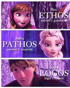 Ethos logos and pathos as seen in the movie Frozen #RhetoricalAppeals