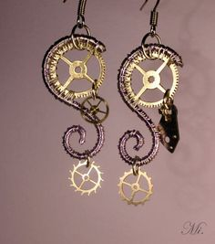Steampunk earrings 15 by TheCraftsman on DeviantArt – Jewelry Steampunk Design, Steampunk Diy, Steampunk Fashion, Gothic Fashion, Steampunk Accessories, Jewelry Accessories, Jewelry Design, Wire Wrapped Jewelry, Wire Jewelry