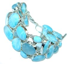 $256.95 Natural++AAA+Blue+Larimar++&+Aquamarine+Sterling+Silver+handmade+Bracelet at www.SilverRushStyle.com #bracelet #handmade #jewelry #silver #larimar