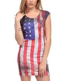 This Red American Flag Bodycon Dress is perfect! #zulilyfinds