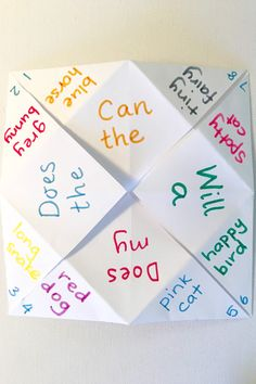 Silly Sentence Chatterboxes: Fun activity idea for children learning to read Learning Games For Kids, Educational Activities For Kids, English Activities, Book Activities, Preschool Activities, Kindergarten Literacy, Sight Word Games, Sight Word Activities, Sight Words