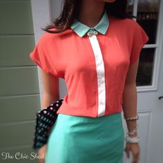 Preview! Romeo & Juliet Couture Coral Hi-lo Blouse Very trendy! Bright coral with white and turquoise color block collar. Love the combo! Beautiful, like new condition! The Chic Shed; A Current and Classic Fashion Curation.  10% OFF BUNDLES I ❤️ THE OFFER BUTTON ❌NO PP, TRADES, HOLDS❌ Romeo & Juliet Couture Tops Blouses