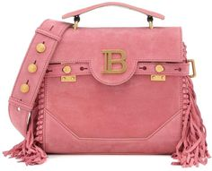 Stay ahead of the fashion curve with the latest design from Balmain: the B-Buzz 23 tote. Crafted in Italy from supple suede with fringe trim, this pink design is accented by gleaming golden hardware, including the house's logo at . Leather Belt Bag, Leather Shoulder Bag, Small Shoulder Bag, Shoulder Strap, Balmain Clothing, Pink Design, Suede, Quilted Leather, Dusty Pink