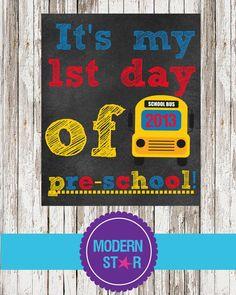 1st day of Preschool picture prop  8x10 digital by ModernStarPrint, $5.00