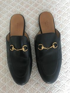 2182ee9911b Gucci Womens Princetown Leather Horsebit Loafers Mules Flats Black Gold  38.5  fashion  clothing