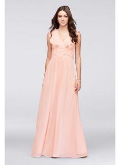 Flutter Sleeve Open Back Chiffon Bridesmaid Dress 263613