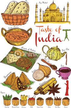 Indian Food Art Indisches Essen Kunst – New Ideas Food Poster Design, Food Design, Indian Illustration, Car Illustration, Restaurant Poster, Food Doodles, Pinterest Instagram, Food Sketch, Food Painting