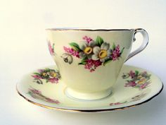 Vintage Aynsley English Bone China Cup and Saucer,1930s,Floral Pattern,Gold Trims,Footed,Dining and Serving,Coffee,Collectible,Creme Pink