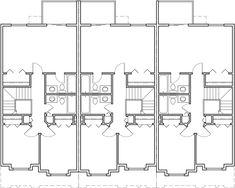 4 plex plans 3 bedroom fourplex house plans f 534 for Apartment fourplex plans