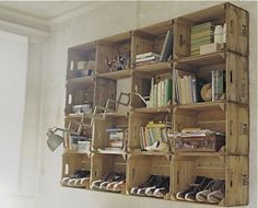 upcycled crate shelves