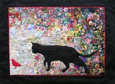 Cat Bird Watercolor Quilt Kit