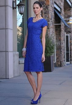 SAVOR THE SOPHISTICATION - Hand crocheted Royal Blue battenburg lace dress features scalloped edges along the neckline which can be worn either as a v- or scoop-neck, and along the sleeve and hem for