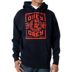 Type Treatment Design : Obey Trusted Quality Navy #Pullover #Hoodie