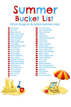 Summer Bucket List – 50 Fun Activities for Kids! Summer has officially arrived and this Summer Bucket List for Kids will help all of us parents keep our sanity this summer. Print Yours!