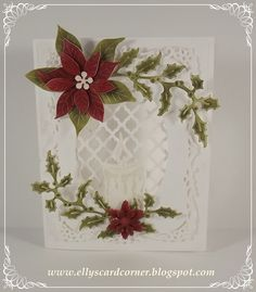 Ellys Card Corner - For this card I used the Spellbinders Decorative Labels Eight, including a punched oval window and behind the Spellbinders Fancy Lattice pasted Candle from Marianne Design sure, holly sprigs also from Marianne Design and small poinsetta's Nellie Snellen