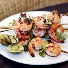 Grilled Miso Shrimp | When grilling shrimp or scallops, use sticks of lemongrass or sprigs of rosemary as an alternative to metal or bamboo skewers. Plus: Summer Grillin...