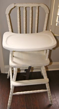 Shabby Chic Vintage High Chair for Baby Kosmos Painted High Chairs, Wooden High Chairs, Dining Room Table Chairs, Room Chairs, Bloom High Chair, Vintage High Chairs, Cabinet Paint Colors, Most Comfortable Office Chair, Wrought Iron Patio Chairs