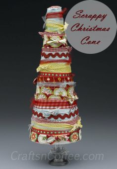 These Scrappy Christmas Cones would be so pretty on my mantel, or maybe my Christmas table.  #HolidayIdeaExchange