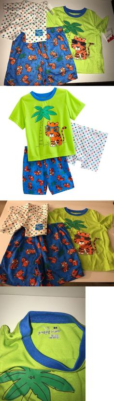 Baby Boys Clothing And Accessories: Jumping Beans Toddler Boys 3-Pc.Tiger Pajama Set Tee Shorts Boxer Lime Green 4T -> BUY IT NOW ONLY: $35 on eBay!