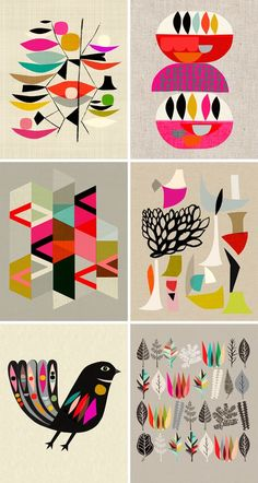 Inaluxe Artwork. I really like the simple and flat designs. They are clean and really simple, yet they express so much. The bright and lively colors work well together to create an energetic feeling geometric shapes used are visually intriguing. Added December 18, 2013.