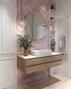 Elegant and luxurious bathroom design ideas for stylish decor -. - Elegant and luxurious bathroom design ideas for stylish decor – - Pink Bathroom Tiles, Pink Tiles, Modern Bathroom, White Tiles, Master Bathrooms, Bathroom Wallpaper, Dream Bathrooms, Pink Small Bathrooms, Mirrored Tile Bathroom