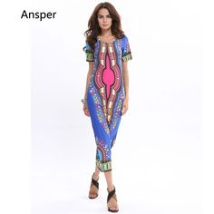 27548e9aa426 2017 Summer Women Casual Sexy dress Women High Slit Dress Robe Longue Femme  Africa dashiki Print long summer sundress Robe Femme-in Dresses from Women s  ...