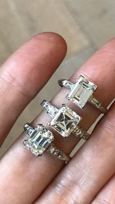 Vintage emerald cut diamond engagement rings. Emerald cut diamonds have a dramatic hall of mirrors effect. Descended from the step cut. The step cut emerged as one of the first faceted diamond cuts, third in line after the point cut and the table cut.