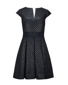 Metallic jacquard dress - Black | Dresses | Ted Baker