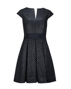 Metallic jacquard dress - Black | Dresses | Ted Baker
