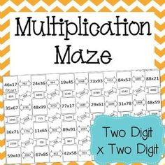 This is a maze composed of 23 two-digit multiplication problems. Standard Algorithm Multiplication, Multiplication Problems, Teaching Multiplication, Teaching Math, Multi Digit Multiplication, Math Resources, Math Activities, Fifth Grade Math, Fourth Grade
