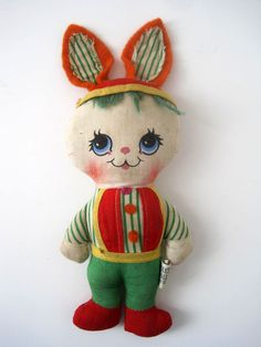 Vintage Mini Easter Rag Doll Bunny by Knickerbocker Toy Company. $12,00, via Etsy.