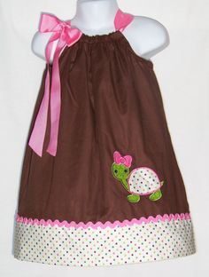 Girl Turtle  Brown & Pink Pillowcase Dress / by KarriesBoutique