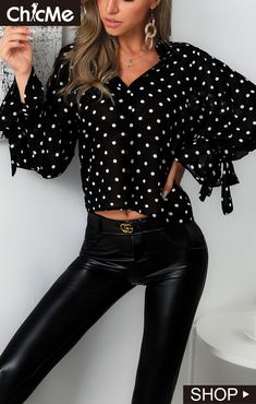 Buy Dot Ruffles Cuff Casual Blouse at the best price. Crop Blouse, Printed Blouse, Longsleeve, Chiffon Shirt, Two Piece Dress, Off Shoulder Tops, Half Sleeves, Pattern Fashion, Sleeve Styles
