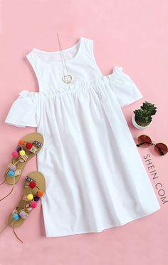 White Ruffle Cold Shoulder Shift Dress