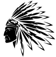 dessin tribal: rouge indien chef noir et blanc illustration