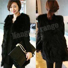Faux Fur Lining Winter Hood Long Vest Coat