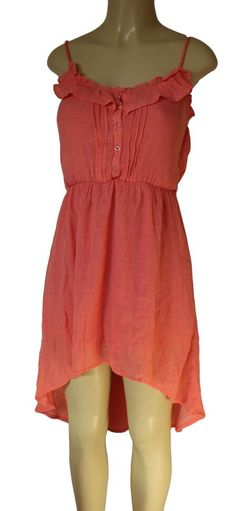 EUC POETRY Womens Dress Beach Long L Coral Pink Spaghetti Strap Lined Ruffled #Express #Maxi #SummerBeach