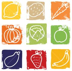 Printed fruit and vegetable blocks Royalty Free Stock Vector Art Illustration