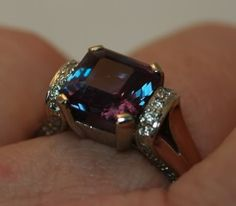 4ct (9mm) BTD Alexandrite in 14k wg ring with side diamonds.
