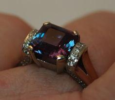 4ct (9mm) BTD Alexandrite in 14k wg ring with side diamonds.