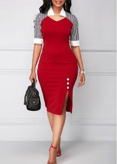 Button Detail Side Slit Sheath Dress