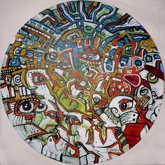 """$120.31 PIZZA Hand painted unique surreal outsider painting on vinyl record by Spencer John Derry 2015, hung by the centre hole. Signed and dated. Original artwork with signed Certificate of Authenticity W 12.00"""" x H 12.00"""" Media: acrylic Surface: 180 gram Vinyl Record.  £100.00 £80.00 20% off until 14-Dec-2015"""