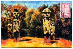 Items similar to Temuco, Chile on Etsy Sumi Ink, Sculptures, Watercolor, Wood Sculpture, Drawings, Postage Stamps, Painting, Art, Watercolor Paper