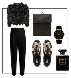 """Twisted Black"" by morganemwa ❤ liked on Polyvore featuring Rains, Yves Saint Laurent, Alexander McQueen, Dune, Larsson & Jennings and Chanel"