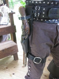 Leather Flintlock Leg Holster / Black Powder by Dredmorsplunder, $45.00