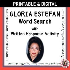 Your students are not merely finding words in the word search - they are also learning about GLORIA ESTEFAN by researching what these words had to do with her music and life.►This resource is not your average word search! It has a research/written activity based on the words hidden in the word search. #musiceducation #mtr #mtrmusicians Learning Music, Music Education, Music Worksheets, Worksheets For Kids, Music Classroom, Classroom Resources, Music Word Search, Child Teaching, Music Words