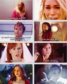 First and last lines of the female companions.  I know many don't agree with me, but Donna's goodbye line, having no idea who the Doctor is, is the most heartbreaking.