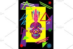 Geometric Shapes, Geometric Patterns, Indian Skull, Feathers, Colorful, Jpg File, Skulls, Dimensional Shapes, Feather