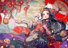 animal ball brown_eyes brown_hair cat flowers headdress japanese_clothes kimono…